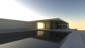 su podium render exterieur villa met realistische materialen